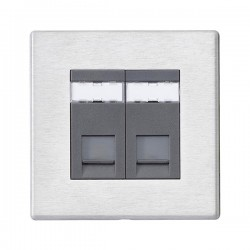 Hamilton Hartland G2 Satin Stainless 2 Gang Unshielded CAT 6 RJ45 Socket with Quartz Grey Insert