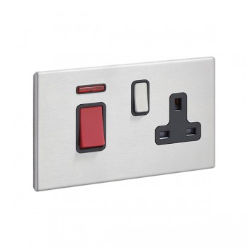 Hamilton Hartland G2 Satin Stainless 45A DP Rocker and 13A Switched Socket with Neon and Black Insert