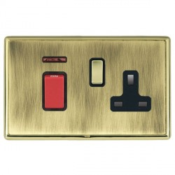 Hamilton Linea-Rondo CFX Polished Brass/Antique Brass 1 Gang Double Pole 45A Red Rocker + 13A Switched So...