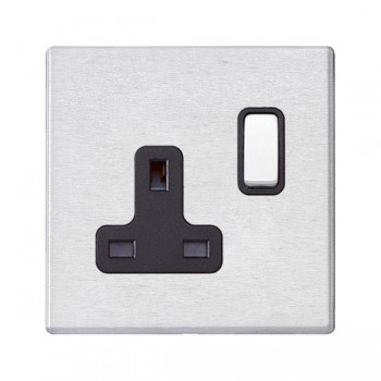 Hamilton Hartland G2 Satin Stainless 1 Gang 13A DP Switched Socket with Black Insert