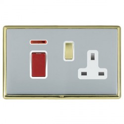 Hamilton Linea-Rondo CFX Polished Brass/Bright Steel 1 Gang Double Pole 45A Red Rocker + 13A Switched Socket with White Insert