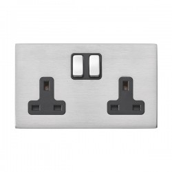 Hamilton Hartland G2 Satin Stainless 2 Gang 13A DP Switched Socket with Black Insert