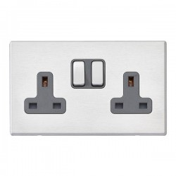 Hamilton Hartland G2 Satin Stainless 2 Gang 13A DP Switched Socket with Quartz Grey Insert