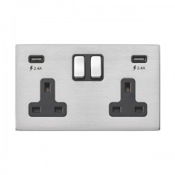 Hamilton Hartland G2 Satin Stainless 2 Gang 13A DP Switched Socket with 2x2.4A USB Outlet and Black Inser...