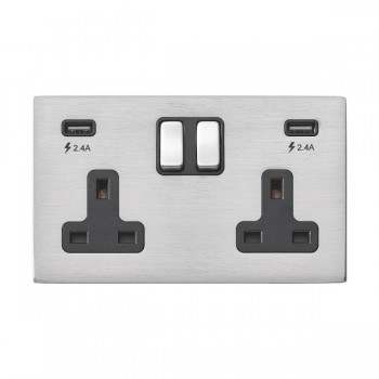 Hamilton Hartland G2 Satin Stainless 2 Gang 13A DP Switched Socket with 2x2.4A USB Outlet and Black Insert
