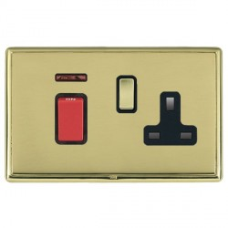 Hamilton Linea-Rondo CFX Polished Brass/Polished Brass 1 Gang Double Pole 45A Red Rocker + 13A Switched S...