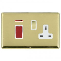 Hamilton Linea-Rondo CFX Polished Brass/Polished Brass 1 Gang Double Pole 45A Red Rocker + 13A Switched Socket with White Insert