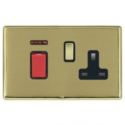 Hamilton Linea-Rondo CFX Polished Brass/Satin Brass 1 Gang Double Pole 45A Red Rocker + 13A Switched Sock...
