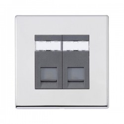 Hamilton Hartland G2 Bright Chrome 2 Gang Unshielded CAT 5e RJ45 Socket with Quartz Grey Insert