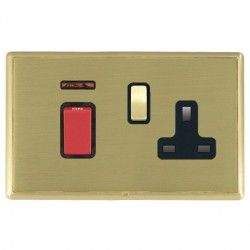 Hamilton Linea-Rondo CFX Satin Brass/Satin Brass 1 Gang Double Pole 45A Red Rocker + 13A Switched Socket with Black Insert