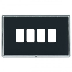 Hamilton Linea-Rondo CFX Bright Chrome/Piano Black 4 Gang Grid Fix Aperture Plate with Grid