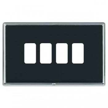 Hamilton Linea-Rondo CFX Bright Chrome/Piano Black 4 Gang Grid Fix Aperture Plate with Grid