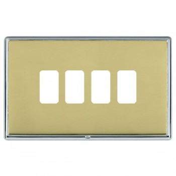 Hamilton Linea-Rondo CFX Bright Chrome/Polished Brass 4 Gang Grid Fix Aperture Plate with Grid