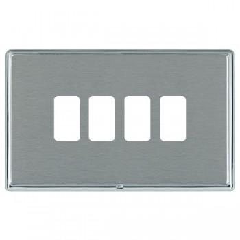 Hamilton Linea-Rondo CFX Bright Chrome/Satin Steel 4 Gang Grid Fix Aperture Plate with Grid