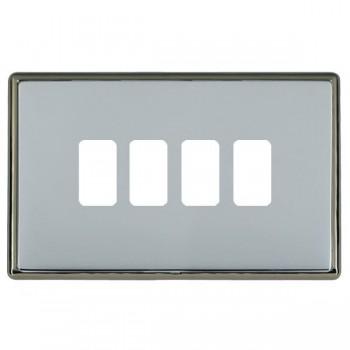 Hamilton Linea-Rondo CFX Black Nickel/Bright Steel 4 Gang Grid Fix Aperture Plate with Grid