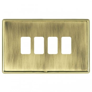 Hamilton Linea-Rondo CFX Polished Brass/Antique Brass 4 Gang Grid Fix Aperture Plate with Grid