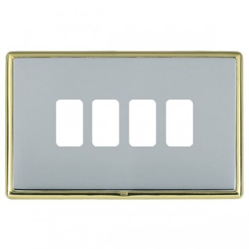 Hamilton Linea-Rondo CFX Polished Brass/Bright Steel 4 Gang Grid Fix Aperture Plate with Grid
