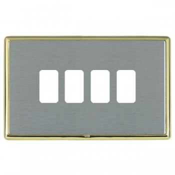 Hamilton Linea-Rondo CFX Polished Brass/Satin Steel 4 Gang Grid Fix Aperture Plate with Grid