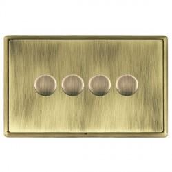 Hamilton Linea-Rondo CFX Antique Brass/Antique Brass Push On/Off Dimmer 4 Gang 2 way with Antique Brass Insert
