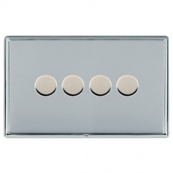Hamilton Linea-Rondo CFX Bright Chrome/Bright Chrome Push On/Off Dimmer 4 Gang 2 way with Bright Chrome I...