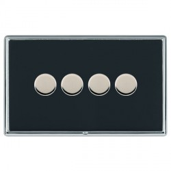 Hamilton Linea-Rondo CFX Bright Chrome/Piano Black Push On/Off Dimmer 4 Gang 2 way with Bright Chrome Ins...