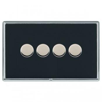 Hamilton Linea-Rondo CFX Bright Chrome/Piano Black Push On/Off Dimmer 4 Gang 2 way with Bright Chrome Insert