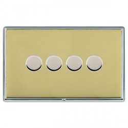 Hamilton Linea-Rondo CFX Bright Chrome/Polished Brass Push On/Off Dimmer 4 Gang 2 way with Bright Chrome Insert