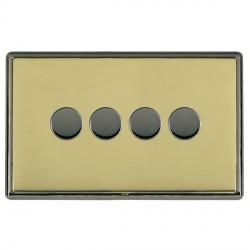 Hamilton Linea-Rondo CFX Black Nickel/Polished Brass Push On/Off Dimmer 4 Gang 2 way with Black Nickel Insert
