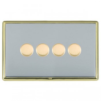Hamilton Linea-Rondo CFX Polished Brass/Bright Steel Push On/Off Dimmer 4 Gang 2 way with Polished Brass Insert