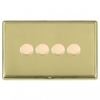 Hamilton Linea-Rondo CFX Polished Brass/Polished Brass Push On/Off Dimmer 4 Gang 2 way with Polished Brass Insert
