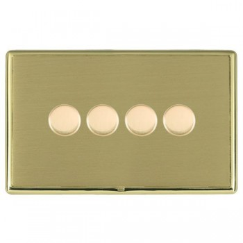 Hamilton Linea-Rondo CFX Polished Brass/Satin Brass Push On/Off Dimmer 4 Gang 2 way with Polished Brass Insert