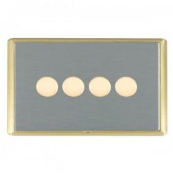Hamilton Linea-Rondo CFX Satin Brass/Satin Steel Push On/Off Dimmer 4 Gang 2 way with Satin Brass Insert