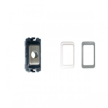 Eurolite Enhance Satin Stainless Steel Flex Outlet Module with Black, White, and Grey Inserts