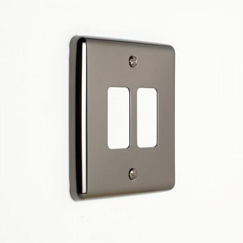 Eurolite Enhance Black Nickel 2 Gang Grid Faceplate
