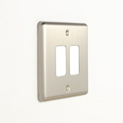 Eurolite Enhance Satin Stainless Steel 2 Gang Grid Faceplate