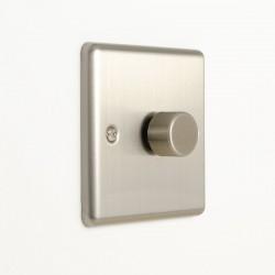 Eurolite Enhance Satin Stainless Steel 1 Gang 400W LED Dimmer Switch