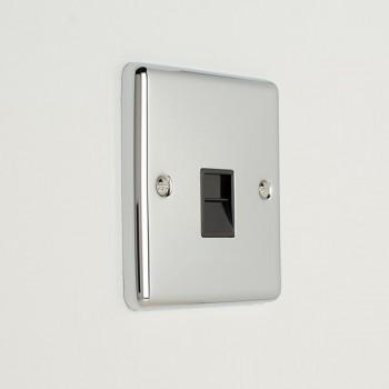 Eurolite Enhance Polished Chrome 1 Gang Master Telephone Socket with Black Insert