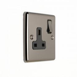 Eurolite Enhance Black Nickel 1 Gang 13A DP Switched Socket with Black Insert