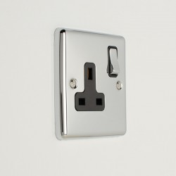 Eurolite Enhance Polished Chrome 1 Gang 13A DP Switched Socket with Black Insert
