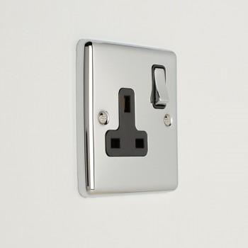 Eurolite Enhance Polished Chrome 1 Gang 13A DP Switched Socket with Black Insert