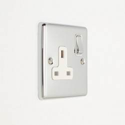 Eurolite Enhance Polished Chrome 1 Gang 13A DP Switched Socket with White Insert