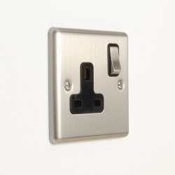 Eurolite Enhance Satin Stainless Steel 1 Gang 13A DP Switched Socket with Black Insert