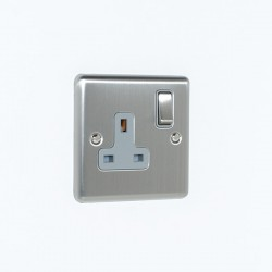 Eurolite Enhance Satin Stainless Steel 1 Gang 13A DP Switched Socket with Grey Insert