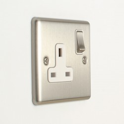 Eurolite Enhance Satin Stainless Steel 1 Gang 13A DP Switched Socket with White Insert