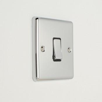 Eurolite Enhance Polished Chrome 1 Gang 10A 2 Way Switch with Black Insert