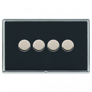 Hamilton Linea-Rondo CFX Bright Chrome/Piano Black Push On/Off Dimmer 4 Gang Multi-way Trailing Edge with Bright Chrome Insert