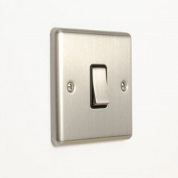 Eurolite Enhance Satin Stainless Steel 1 Gang 10A 2 Way Switch with Black Insert