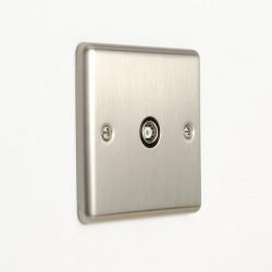 Eurolite Enhance Satin Stainless Steel 1 Gang TV Coaxial Socket with Black Insert