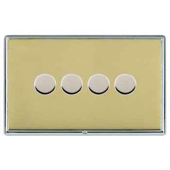 Hamilton Linea-Rondo CFX Bright Chrome/Polished Brass Push On/Off Dimmer 4 Gang Multi-way Trailing Edge with Bright Chrome Insert