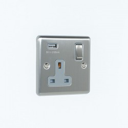 Eurolite Enhance Satin Stainless Steel 1 Gang 13A Switched Socket with 2.1A USB Outlet and Grey Insert